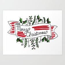 Merry Christmas Banner Print Merry Christmas Art Prints Society6