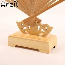 Wooden Display Stands For Figurines Hand Fan Stand Display Base Holder Bamboo Chinese Style Wood Silk 53