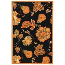 black and orange rug hand hooked autumn leaves black orange wool rug black orange rug black and orange rug