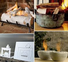 image above clockwise from top left birch ceramic logs 189 95 copper fire bucket 229 mini river rock fire bowl 49 popup fireplace card 5