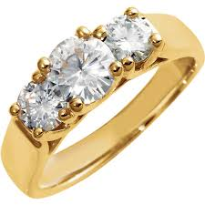 14kt yellow gold 6mm forever classic moissanite three stone anniversary band