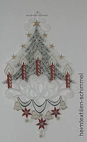 Plauener Spitze Fensterbild Weihnachtsbaum Winter