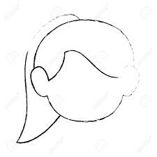 かわいい女性の顔のアイコン ベクトル イラスト グラフィック デザイン
