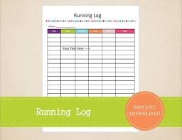 Running Log Health And Fitness Printable Fitness Tracker Etsy