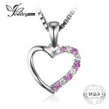 jewelrypalace romantic 0 6ct created pink sapphire heart pendant genuine 925 sterling silver wedding fine jewelry