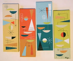 Mid Century Modern Inspired Art by Nat Reed. Twin Palms Art by Nat Reed