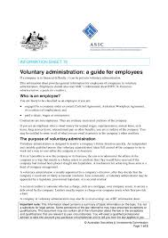 employment information sheet voluntary administration a guide for employees