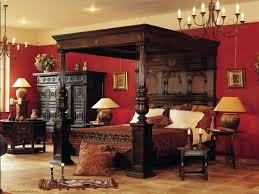 victorian bed furniture. Sensational Traditional Bedroom Furniture: Victorian Canopy Bed Red Painted Wall Furniture ~