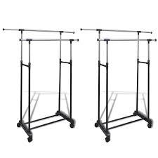 Cloth hanger stands Pole Remaining Vidaxl 2x Adjustable Clothes Rack Hanging Rails Garment Coat Hanger Stand Rischecinfo Vidaxl 2x Adjustable Clothes Rack Hanging Rails Garment Coat