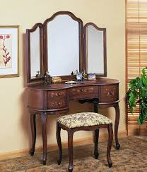 antique bedroom furniture vintage. Bedroom Antique Furniture Of Dark Brown Wooden Vanity Designed With Mirrors And Drawers Also Padded Bench Combine Beige Wall Motif Vintage F