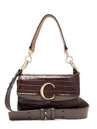 chloé the c crocodile effect leather shoulder bag