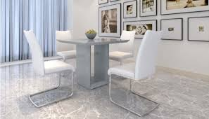 square dining table for 4. Soho Grey Square Dining Table With 4 White Avante Chairs For
