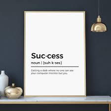 funny office poster. Success Definition Print | Funny Office Poster Gift For Co-worker Last Minute Christmas Downloadable Digital