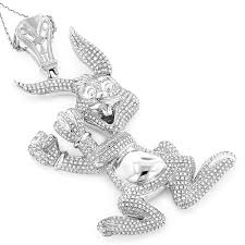 real custom jewelry diamond bugs bunny pendant 2 48ct gold plated silver white image