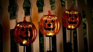 lighted pumpkin yard stakes outdoor decoration improvements catalog