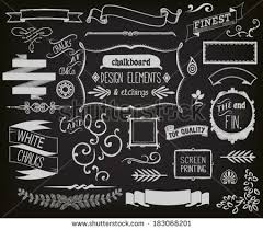 Chalkboard Design Elements and Etchings - Blackboard clip art including  frames, ribbons, banners,