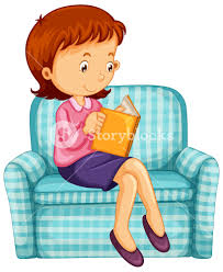 woman reading book on sofa ilration
