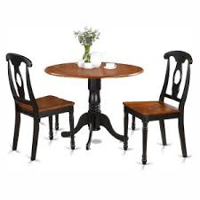 black round dining table and chairs. East West Furniture Dublin 3 Piece Drop Leaf Round Dining Table Set With Kenley Wooden Seat Black And Chairs