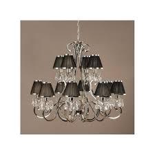oksana 12 light chandelier in polished nickel with black fabric shades