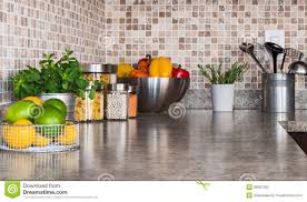 Kitchen Countertop Kitchen Countertop With Food Ingredients And Herbs Stock