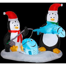 animated christmas penguins. Plain Penguins H Inflatable Animated Penguins Ice Fishing In Christmas