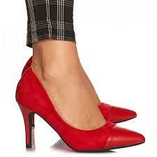 Pantofi stiletto cu toc mediu din velur Alicia rosu   Matar.ro