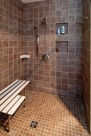 ... Bathroom Inspiration ~ Keen Roll In Shower Constructions, Styles And  Pictures: Fantastic Brown Ceramic ...