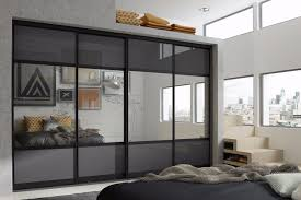 black anthracite glass and silver mirrored bedroom wardrobe doors