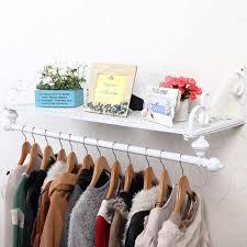 wall mounted clothes rail. Heavy Duty Metal Clothes Rail Wall Mounted Garment Hanging Rack \u0026 Shelf Wardorbe