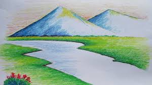 easy to draw landscapes beginners mountain landscape drawing with oil pastel you