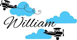 <b>Airplane Wall Decal</b> - Clouds Name Vinyl Sticker <b>Personalized</b> ...