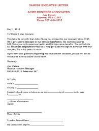 Verification Letter From Employer Significances Of Verification Of Employment Letter For