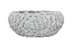 Light Blue Planter Creative Co Op Da9508 1 Light Blue Ceramic Planter With Flower Texture