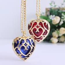 whole sunhsine the legend of zelda blue red heart container necklace hollow out 4cm pendant necklace quality factory x563 direct