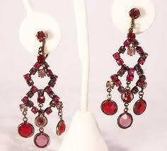 red purple rhinestone chandelier earrings clip on style
