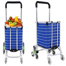 Portable Light Carts Portable Folding Stair Shopping Cart Heavy Duty Rolling Grocery Climber Carts Light Weight Trolley With 8 Wheel Aluminum Rolling Swivel Green
