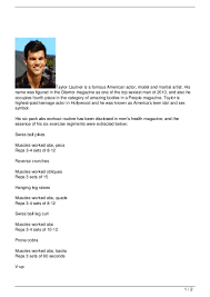Six Pack Abs Workout Chart Taylor Lautner S Six Pack Abs Workout Routine