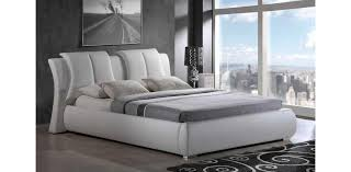 Marvelous White Leather Platform Bed with Destiny White Leather King