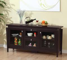 ... Buffet Table With Glass Doors Sideboards And Buffets With Glass Doors  Contemporary Espresso Credenza ...