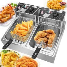 <b>12L</b> ELECTRIC DEEP Fryer Dual Tank <b>Stainless</b> Steel 2 Fry Basket ...