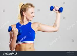 Lifting Light Weights Sporty Woman Lifting Light Dumbbells Weights Stock Photo