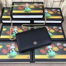 gucci gg marmont leather mini chain bag black 497985