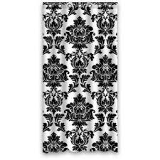 black and white elegant traditional damask waterproof bathroom shower curtains shower rings included polyester fabric 36 w x 72 h in on
