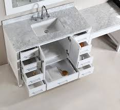two 48 london single sink vanity set in white with one make up table in white