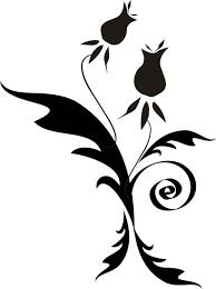 花のイラストフリー素材白黒モノクロno435白黒茎葉ぐるぐる