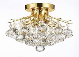 flush mount crystal light fresh gold finish crystal chandelier with 4 lights lighting
