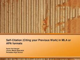 citing yourself citing your previous work in mla or apa format