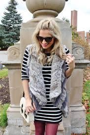 bijuleni wilsons leather rabbit fur vest and striped dress
