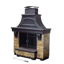 steel and faux stack stone outdoor fire place