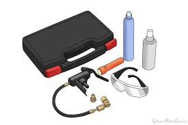 car air conditioning system. air conditioning dye kit with dye, glasses, and uv light car system
